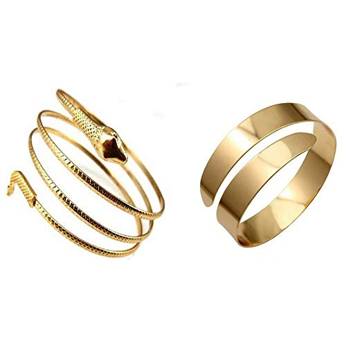 PQZATX 2 Pcs Fashion Coiled Snake Spiral Upper Arm Cuff Armband Bangle Bracelet Gold Color, 5.8cm & 7cm