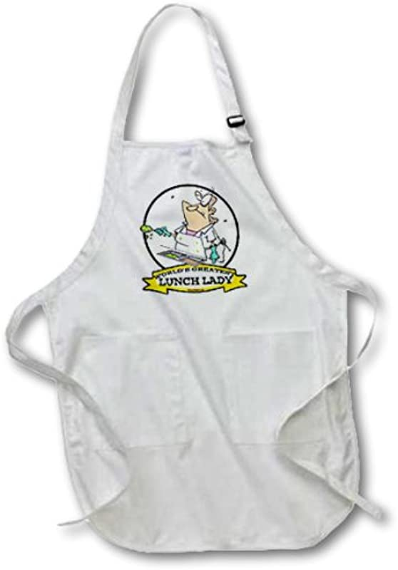 3dRose Apr 103323 1 Funny Worlds Greatest Lunch Lady Cartoon Full Length Apron With Pouch Pockets 22 By 30 Inch White With Pockets