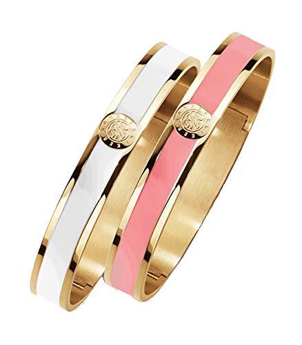 Dyrberg/Kern - Handbemaltes Set Damenarmbänder - Poliertes Goldfarbenes Finish - Rosa und weiße Emaille - Scharnierverschluss - Edelstahl - Nickelfrei