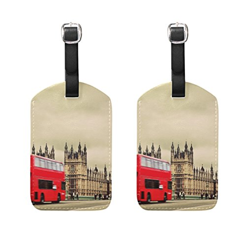 COOSUN London UK Red Bus and Big Ben Luggage Tags Travel Labels Tag Name Card Holder for Baggage Suitcase Bag Backpacks, 2 PCS