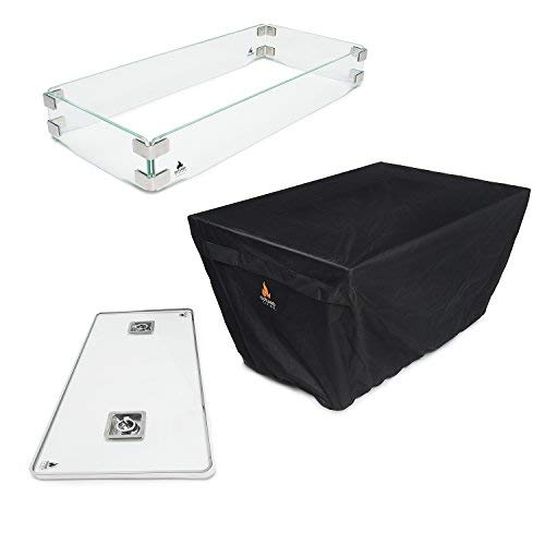Outland Fire Table 3 Piece Rectangle Accessory Set - Tempered Glass Lid Insert, Tempered Glass Wind Guard Fence and UV & Water Resistant Durable Cover for Series 401 Outdoor Propane Fire Pit Tables