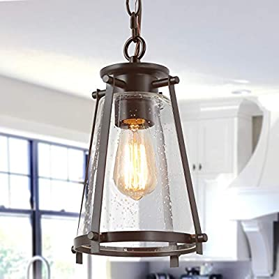 KSANA Bronze Pendant Lighting for Kitchen Island, Rustic Industrial Pendant Light with Seeded Glass