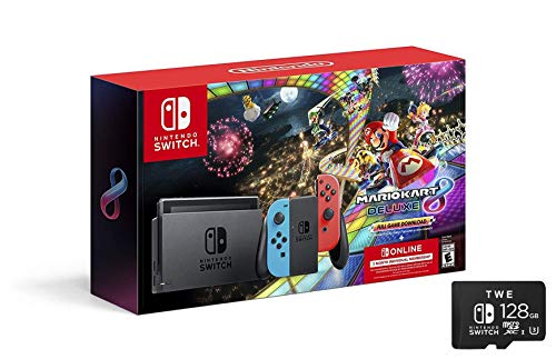 Nintendo Switch w/Neon Blue & Neon Red Joy-Con + Mario Kart 8 Deluxe (Full Game Download) + 3 Month Nintendo Switch Online Individual Membership Bundle with TWE 128GB Micro SD Card