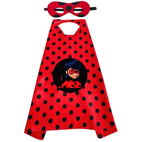 Miotlsy Carnevale Ladybug Bambina Cosplay 3-10 Anni,Ladybug Costume di Travestimento Party Halloween Carnival Costume Abito delle Ragazze,Costumei Cosplay (Maschera per Gli Occhi, Piccola Borsa)