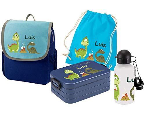Mein Zwergenland Set 5 Kindergartenrucksack mit Brotdose, Turnbeutel und Trinkflasche Happy Knirps Next mit Name Blau Dinos im Park