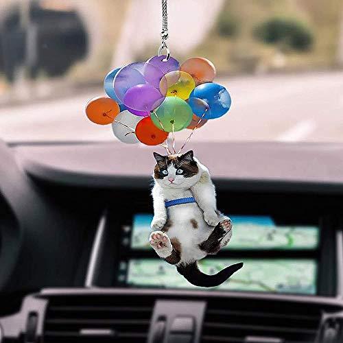 MEIJING Katze Auto hängenden Ornament mit bunten Ballon, dekorative hängende Ornamente Auto FUUNY Anhänger kreative niedlichen Katze hängenden Ornament, Auto Interieur Zubehör
