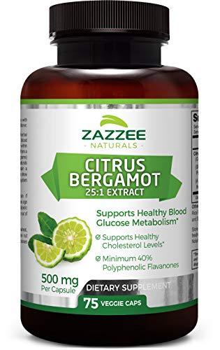 Zazzee Citrus Bergamot, 75 Veggie Caps, 500 mg, Potent 25:1 Extract, Minimum 40% Polyphenolic Flavanones, Vegan, Non-GMO and All-Natural