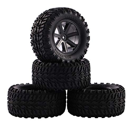 RCStation 4pcs Off Road RC Buggy Tires and Wheel Rims Set with Foam Inserts 1/10 Scale, Pre Glued RC Wheels and Tires with 12mm Hex Hub for RC Off Road Buggy Car Small Monster Truck, Black