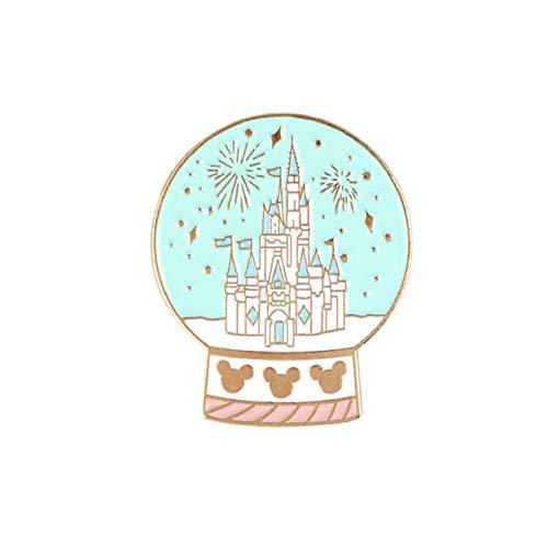wangk Cartoon Fairytale Castillo Pin Cristal Bola Broches Bolsa Ropa Lapel Pin Fun Insignia Joyería Regalo para niñas Spille