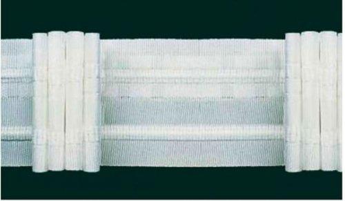 Ruther & Einenkel Faltenband mit 3 Falten, 50 mm, weiß, 250% / Aufmachung 10 m
