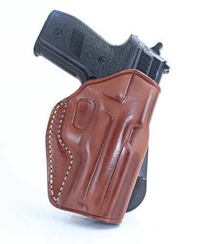 Premium Leather Paddle Holster, Sig P226 X Five/P220/P227/P224/P228/P229/P225/P239/P250/P290 Pro 2340,2022/Sig LR, Right Hand Draw (Brown, SIG 1911 5''W/Rail)