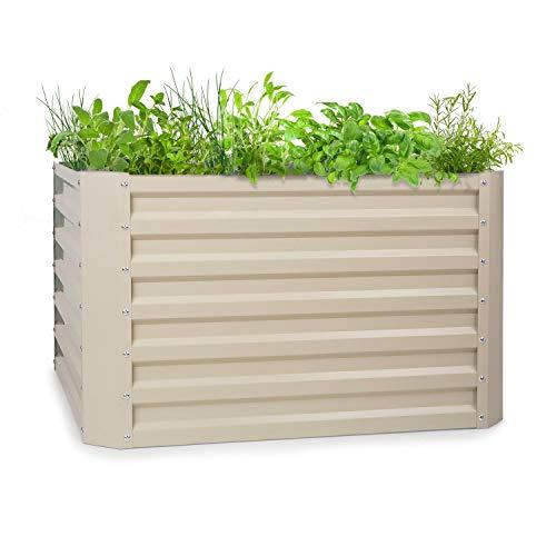 blumfeldt High Grow Straight - Macetero, Protección contra óxido, Acero galvanizado de 0,6 mm (Ø), 4 Barras de protección, Resistencia Intemperie, Volúmen de 600 L, 100 x 60 x 100 cm, Beige