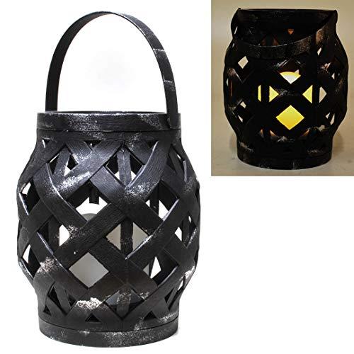 Udo Bremen lantaarn rotan m. LED-kaars, zwart
