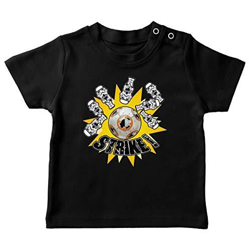 T-Shirt bébé Noir Parodie Star Wars - BB-8 et Stormtroopers - The Empire Striked Back. (T-Shirt de qualité Premium de Taille 24 Mois - imprimé en France)