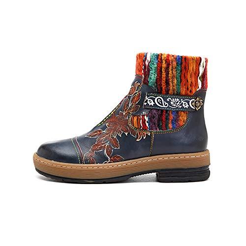 Story of life Bottines en Cuir pour Femme Boot Automne Hiver Fond Épais Marcher Boot Mode Femmes Main Artisanat Laine Couture Tricot Neige Boot,Bleu,39