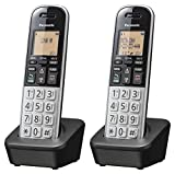 Panasonic Compact Cordless Phone with DECT 6.0, 1.6' Amber LCD and Illuminated HS Keypad, Call Block, Caller ID, Multiple Display Languages - 2 Handset - KX-TGB812S (Black/Silver)
