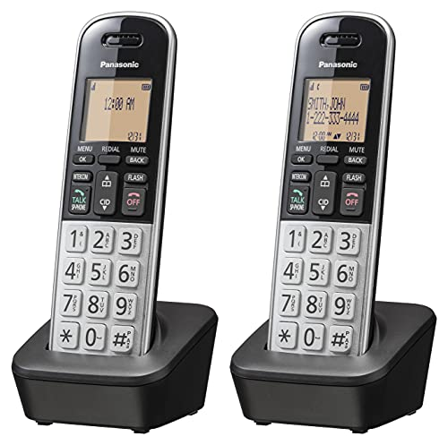 """Panasonic Compact Cordless Phone with DECT 6.0, 1.6"""" Amber LCD and Illuminated HS Keypad, Call Block, Caller ID, Multiple Display Languages - 2 Handset - KX-TGB812S (Black/Silver)"""