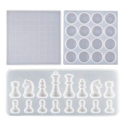 S-TROUBLE Kit de ajedrez Molde de Silicona Piezas de ajedrez internacionales Damas Tablero de ajedrez Molde de Resina epoxi de Cristal UV para Manualidades DIY Herramienta de fundición