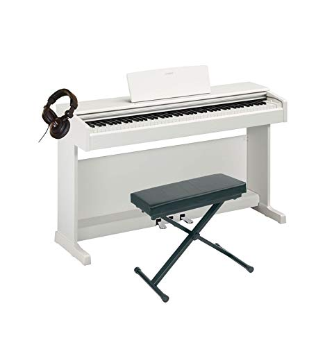 Pack Yamaha YDP-144 blanco – Piano digital + banco + casco