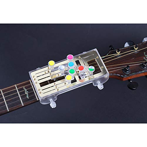 Alician Lehrhilfe Gitarre Werkzeug Akustik Gitarre Chord Buddy Gitarre Lernsystem Lehrhilfe Zubehör für Gitarre Lernen Musikinstrument Zubehör, goldfarben, English version
