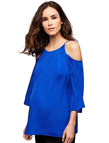 Daniel Rainn Cold Shoulder Maternity Blouse Blue