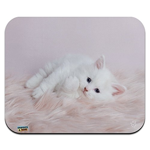 Persian Cat White Kitten Fluffy Furry Blanket Low Profile Thin Mouse Pad Mousepad