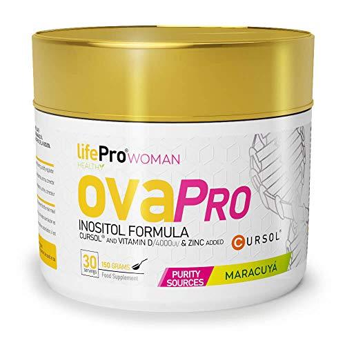 Life Pro Ovapro Myo Inositol para la salud de la mujer – Inositol en polvo con cúrcuma, zinc y vitamina D para ayudar contra el SOP – 150 gramos – Suministro para 30 días – Sabor maracuyá