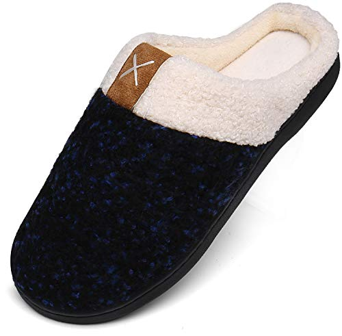 Mishansha Memory Foam Hausschuhe Herren Winter Plüsch Pantoffeln Damen Wärme Weiche Home rutschfeste Slippers mit Fell Blau Gr.40/41 EU (280mm)