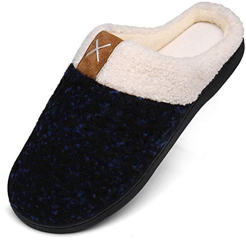Mishansha Memory Foam Hausschuhe Herren Winter Plüsch Pantoffeln Damen Wärme Weiche Home rutschfeste Slippers mit Fell Blau Gr.42/43 EU (290mm)