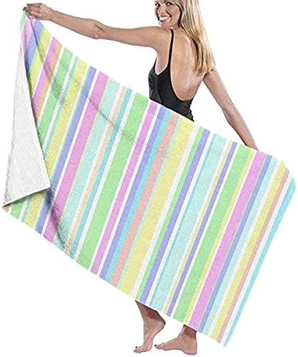 Telo Mare Grande 130 ×80cm, Striscia di colori pastello ,Asciugamano da Spiaggia in Microfibra Asciugatura Rapida,Ultra Morbido,Uomo,Donna,Bambina