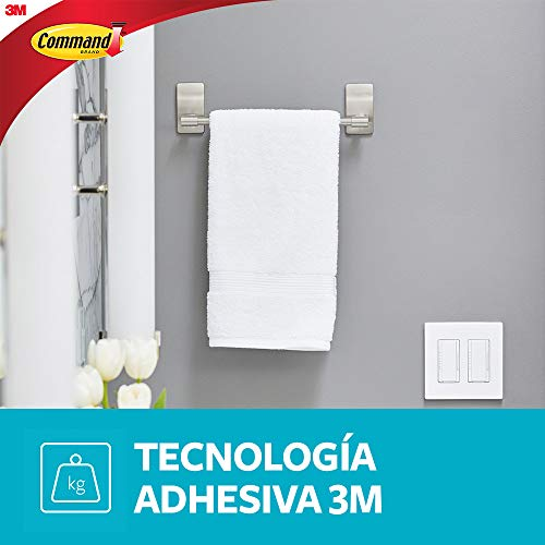 Command by 3M 9 Towel Bar, Stylish Design, Easy On, Easy Off, (BATH41-SN-ES)