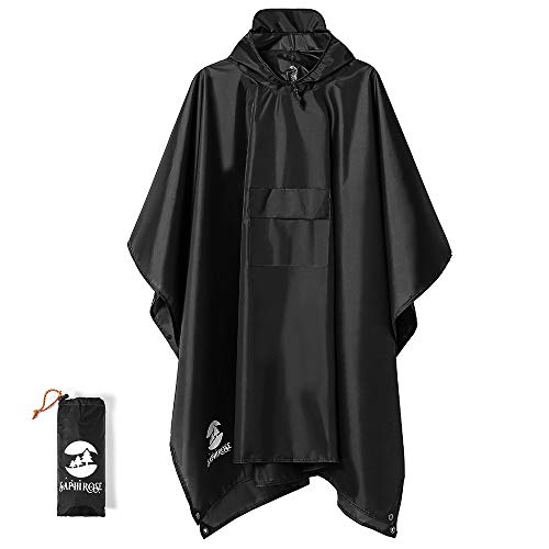 Multifunctional Mens Womens Rain Poncho Waterproof Outdoor Raincoat(Black)
