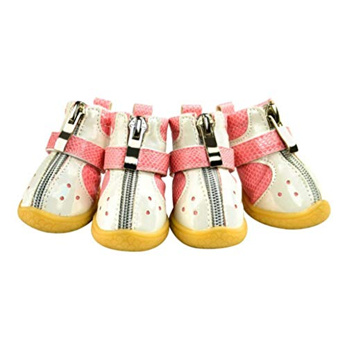 Generic 4 Teile/Satz Pet Schuhe Pu-Leder Fischschuppen Muster rutschfeste Warme Kleine Mittlere Hunde Welpen ReißVerschluss Pfotenschutz Stiefel
