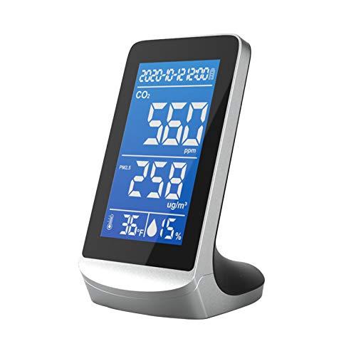 Luftqualitätsanalysator, für CO2 Formaldehyd Luftqualitätsmelder, Kohlendioxid-Tester für Innenräume, Temperatur- und Luftfeuchtigkeitstest, 4,3 Zoll digitales LCD-Display