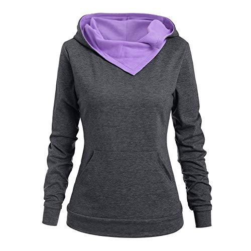 TOPKUAL Sudadera de manga larga con capucha para mujer, para otoño e invierno, sudadera con capucha #02-lila XXL