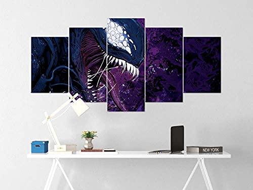 5 Lienzos Decorativos con Impresión Giclée Veneno Diseño De Una Fotografía De Estilo Moderno, Ideal para Salones 150X80Cm