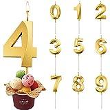 Velas De Cumpleaños Número, Velas De Cumpleaños Oro, Velas de Pastel de Cumpleaños,Adecuado para Fiestas De Cumpleaños, Aniversarios De Bodas, Fiesta de Graduación (Número 4)