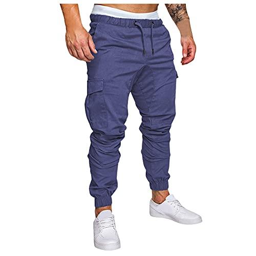 WXZZ Pantalones de trabajo para hombre, de un solo color, con varios bolsillos y cordón, largos, de corte regular, para tiempo libre, senderismo, trekking, para hombre marine XL