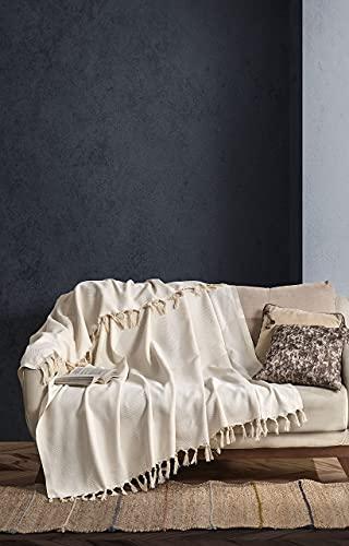 BOHORIA® Premium Tagesdecke Tulum | 100prozent Baumwolle | Oeko-Tex® | Bettüberwurf Wohndecke Wendedecke Sofadecke mit Muster | extra-groß 170 x 230 cm (Natural Cotton)