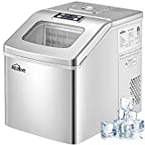 Kealive Ice Maker Machine Countertop 40lbs/24H, 24 Ice Cubes (Clear Square) Ready in 15 Minutes, Portable Compact Ice Maker with 2.4lbs XL Storage Basket and Ice Scoop for Home Kitchen Bar Office