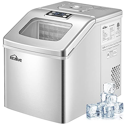 Kealive 40lbs/24H Ice Maker Machine Countertop , 24 Ice Cubes (Clear Square) Ready in 15 Minutes, Portable Compact Ice Maker with 2.4lbs XL Storage Basket