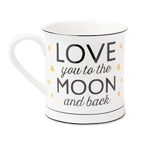 Taza de porcelana - Love you to the Moon and Back, de estrellas doradas