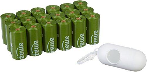 Amazon Basics - Bolsa mejorada para heces de perro con aditivos EPI y dispensador y pinza para correa - 270 unidades