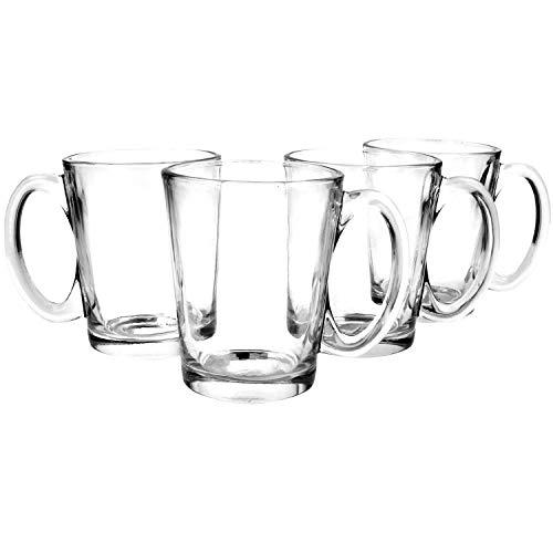 COM-FOUR® 4x theeglas met handvat - glazen drinkglas voor thee of koffie - koffieglas voor cappuccino (04 stuks)