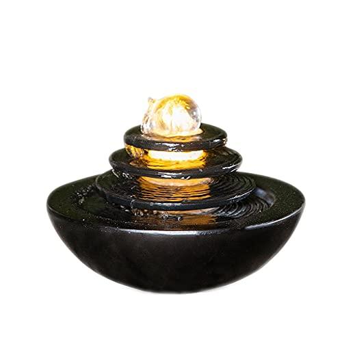 Fuente de mesa Adornos automáticos de agua circulantes, oficinas de la sala de estar, escritorio de la oficina, artesanía de resina, Feng Shui Fountain Treasure Decoración del hogar ( Color : Black )