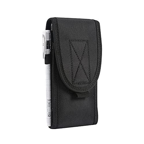 Funda de nailon para teléfono celular, compatible con iPhone 12 Pro Max, 11 Pro Max, para Samsung Galaxy S20 FE, Note 20, Note20 Ultra para Moto/HTC - L (negro)
