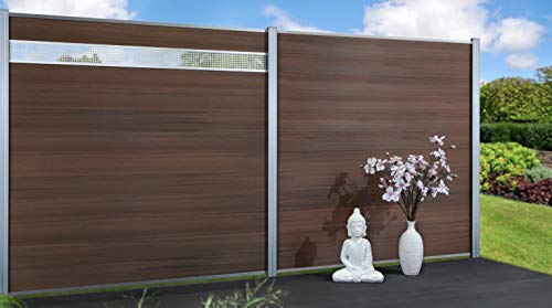 Exklusiv Sichtschutz System WPC Zaun Holzdekor Bangkirai braun mit zusätzlicher Kunststoffbeschichtung, 12er-Bohlenset mit 2 Abschlussleisten Silber (1 Zaunelement 177 x 177 cm ohne Pfosten)