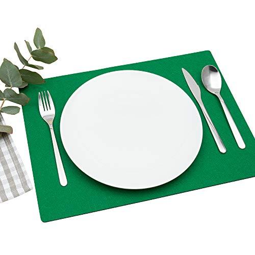 FILU Platzsets aus Filz 4er-Pack Tannengrün eckig (Farbe und Form wählbar) 30 x 41 cm