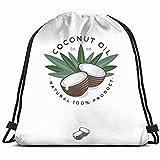 FANGKAI Aceite de Coco Producto Naturaleza Alimentos y Bebidas Mochila con Cordón Deportivo Bolsa de Gimnasio Para Mujeres Hombres Niños Tamaño Grande Con Cremallera Y Bolsillos De Malla