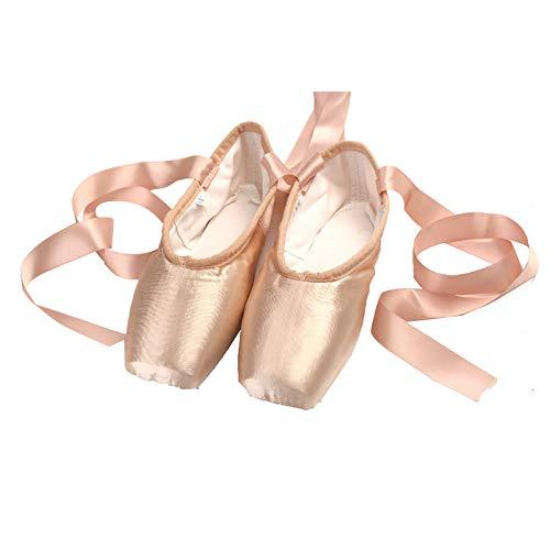 XXXZZL Chaussons de Ballet Enfant Chaussure de Danse de Pointe Chaussures de Ballet en Satin Rose avec Ruban pour Femme Fille,40